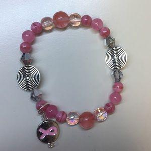 Pink beaded bracelet (Breast Cancer Awareness)